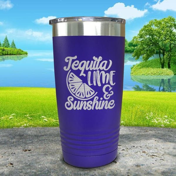 Tequila Lime and Sunshine Engraved Tumbler Tumbler ZLAZER 20oz Tumbler Royal Purple