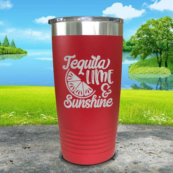 Tequila Lime and Sunshine Engraved Tumbler Tumbler ZLAZER 20oz Tumbler Red