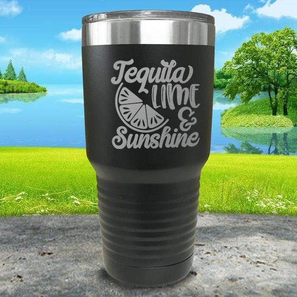 Tequila Lime and Sunshine Engraved Tumbler Tumbler ZLAZER 30oz Tumbler Black