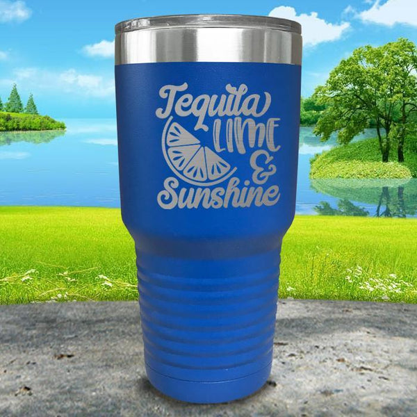 Tequila Lime and Sunshine Engraved Tumbler Tumbler ZLAZER 30oz Tumbler Blue