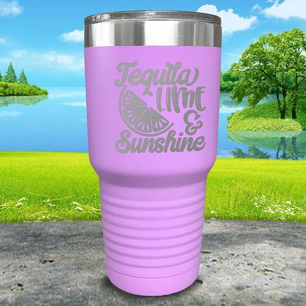 Tequila Lime and Sunshine Engraved Tumbler Tumbler ZLAZER 30oz Tumbler Lavender