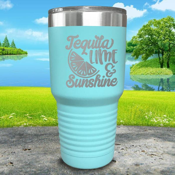Tequila Lime and Sunshine Engraved Tumbler Tumbler ZLAZER 30oz Tumbler Mint