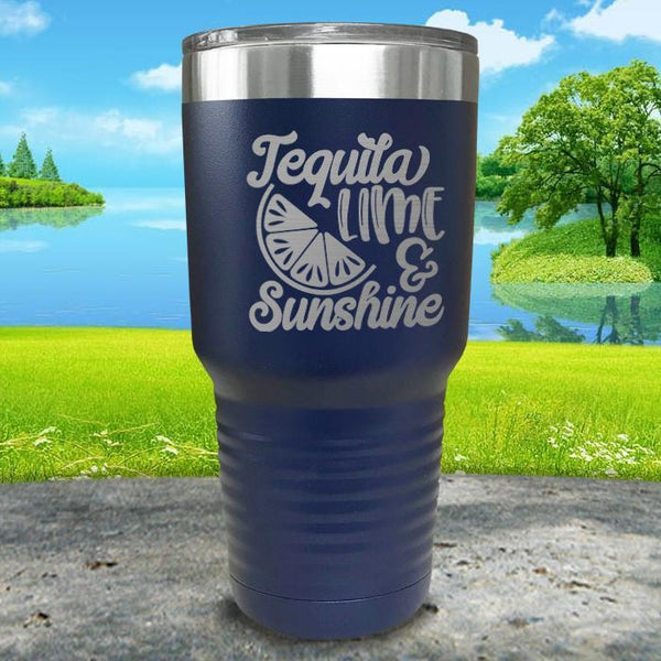Tequila Lime and Sunshine Engraved Tumbler Tumbler ZLAZER 30oz Tumbler Navy