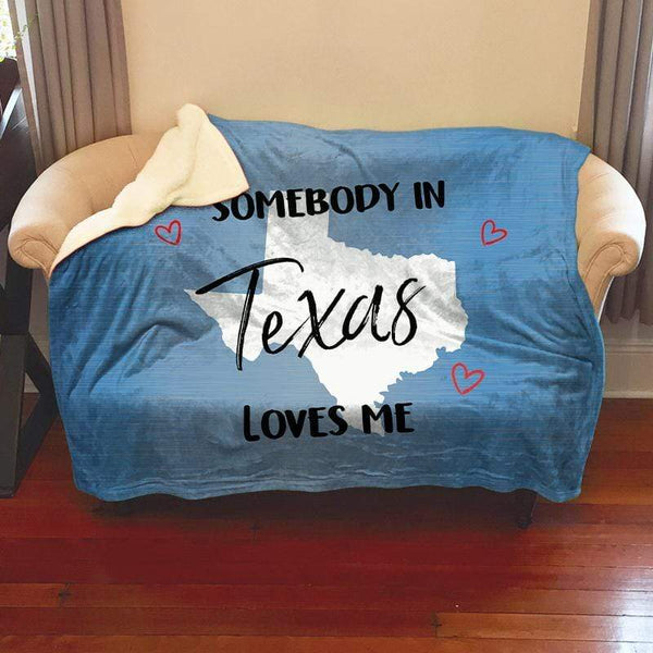 Somebody Loves Me (CUSTOM) Sherpa Blanket Blankets CustomCat Texas