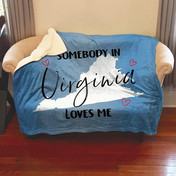 Somebody Loves Me (CUSTOM) Sherpa Blanket Blankets CustomCat Virginia
