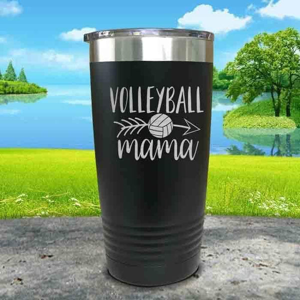 Volleyball Mama Engraved Tumbler Tumbler ZLAZER 20oz Tumbler Black