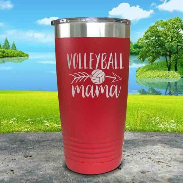 Volleyball Mama Engraved Tumbler Tumbler ZLAZER 20oz Tumbler Red