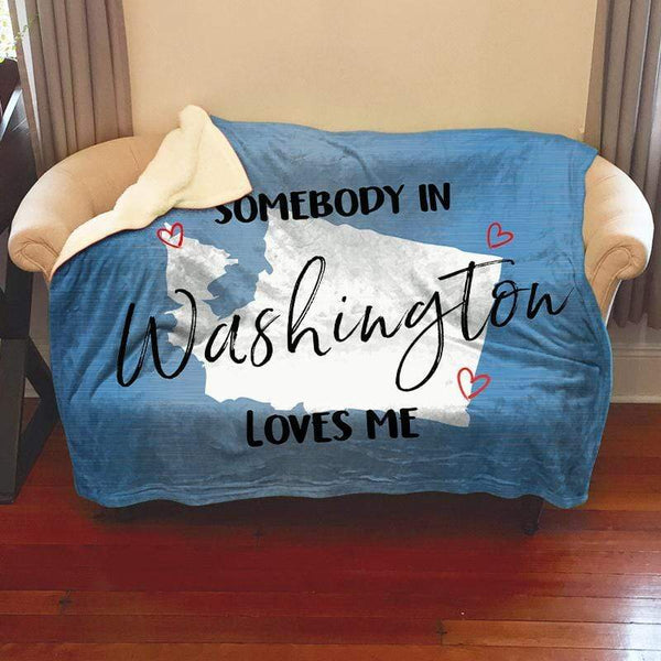 Somebody Loves Me (CUSTOM) Sherpa Blanket Blankets CustomCat Washington