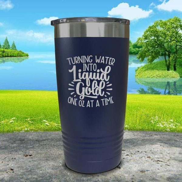 Turning Water Into Liquid Gold Engraved Tumbler Tumbler ZLAZER 20oz Tumbler Navy
