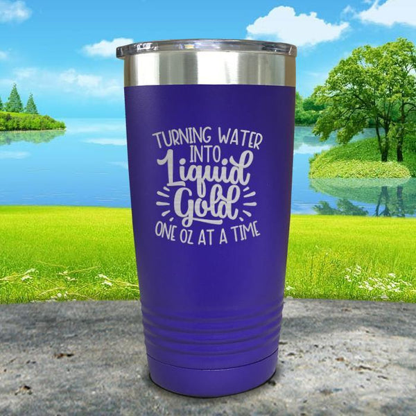 Turning Water Into Liquid Gold Engraved Tumbler Tumbler ZLAZER 20oz Tumbler Royal Purple