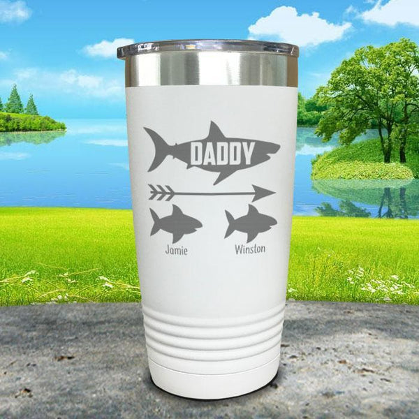 Daddy Shark (CUSTOM) With Child's Name Engraved Tumblers Tumbler Southland 20oz Tumbler White