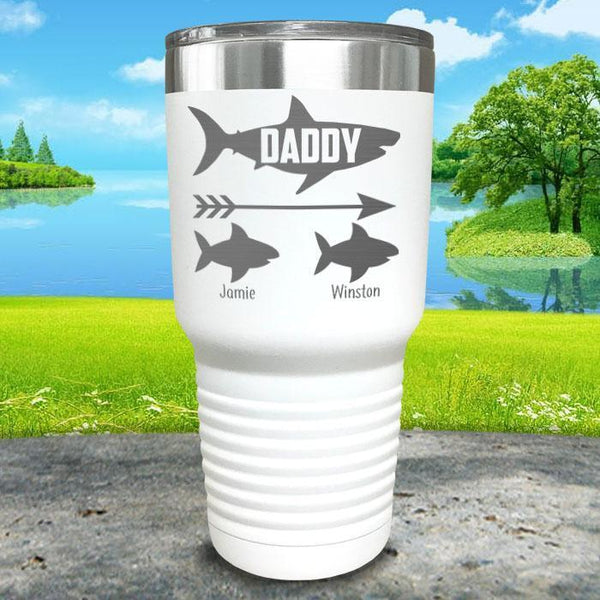 Daddy Shark (CUSTOM) With Child's Name Engraved Tumblers Tumbler Southland 30oz Tumbler White