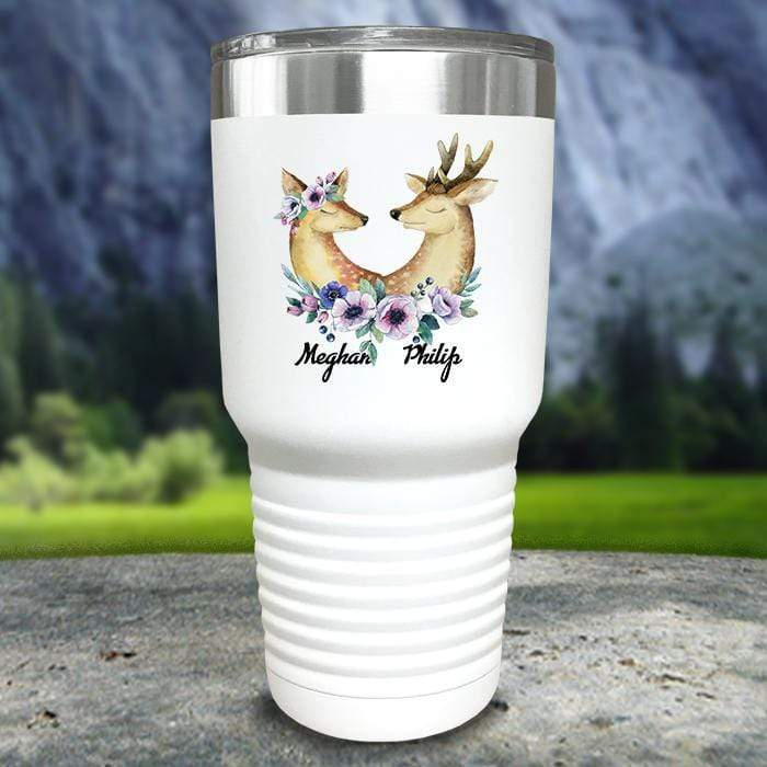 Buck and Doe Personalized Color Printed Tumblers Tumbler Nocturnal Coatings 30oz Tumbler White