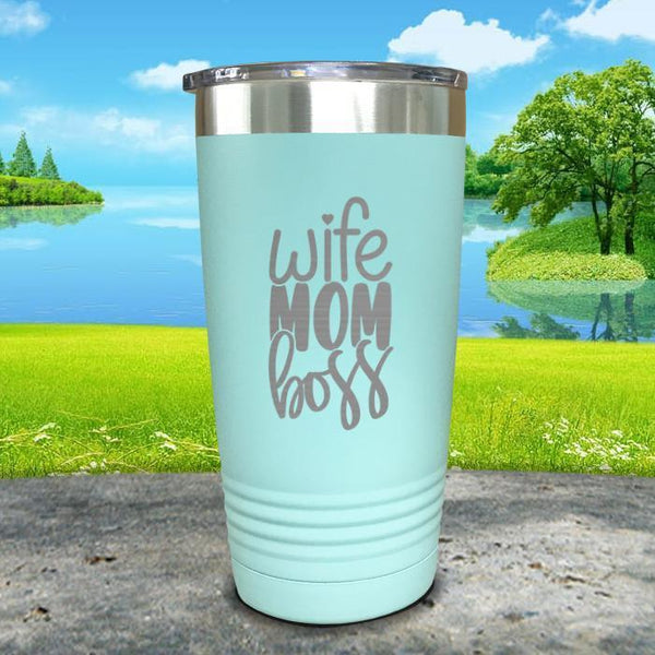 Wife Mom Boss Engraved Tumbler Tumbler ZLAZER 20oz Tumbler Mint
