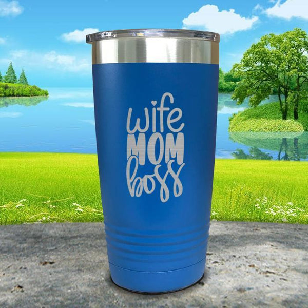 Wife Mom Boss Engraved Tumbler Tumbler ZLAZER 20oz Tumbler Blue
