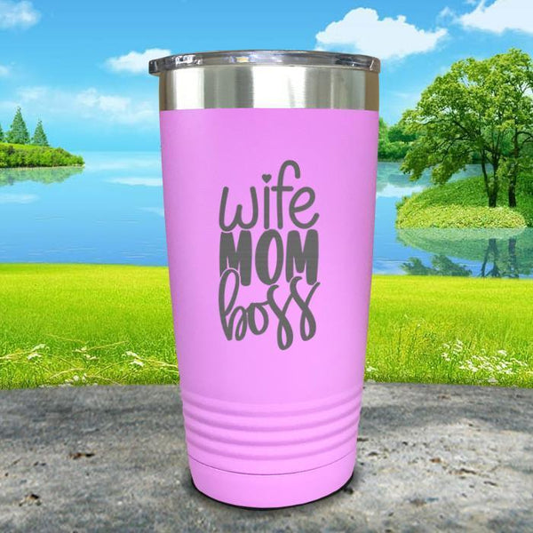 Wife Mom Boss Engraved Tumbler Tumbler ZLAZER 20oz Tumbler Lavender