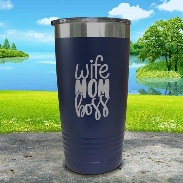 Wife Mom Boss Engraved Tumbler Tumbler ZLAZER 20oz Tumbler Navy
