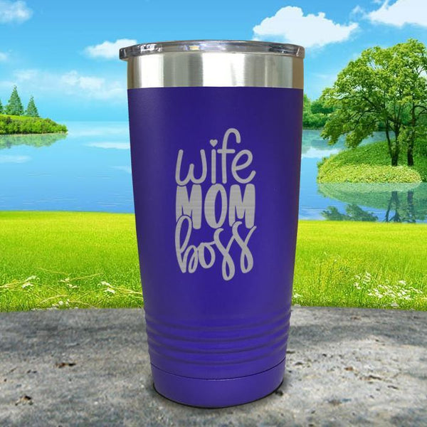 Wife Mom Boss Engraved Tumbler Tumbler ZLAZER 20oz Tumbler Royal Purple