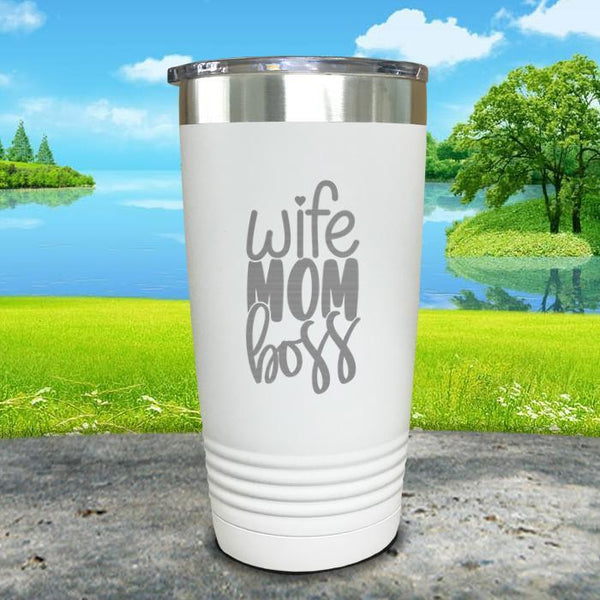Wife Mom Boss Engraved Tumbler Tumbler ZLAZER 20oz Tumbler White