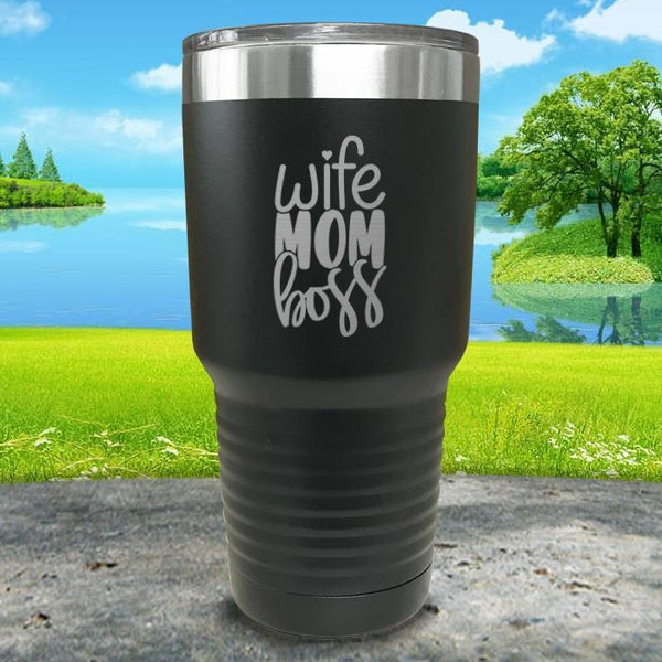 Wife Mom Boss Engraved Tumbler Tumbler ZLAZER 30oz Tumbler Black