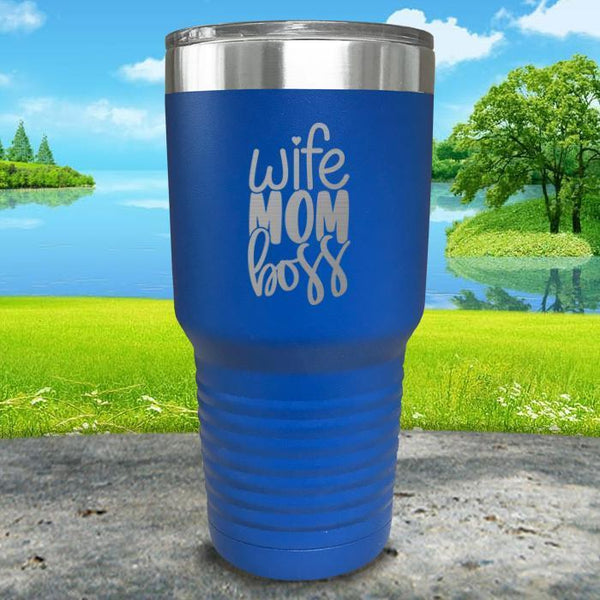 Wife Mom Boss Engraved Tumbler Tumbler ZLAZER 30oz Tumbler Blue