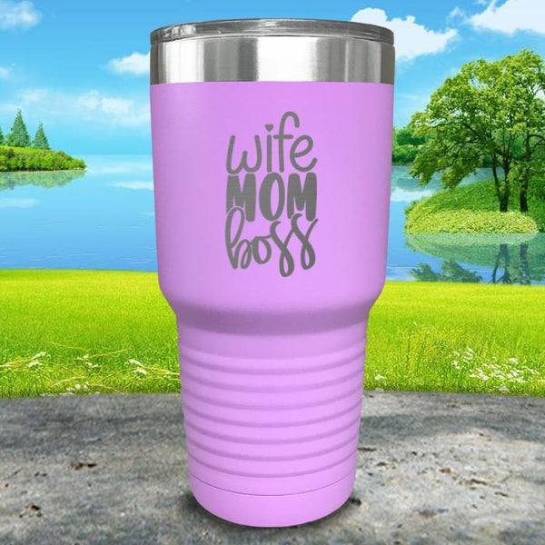 Wife Mom Boss Engraved Tumbler Tumbler ZLAZER 30oz Tumbler Lavender