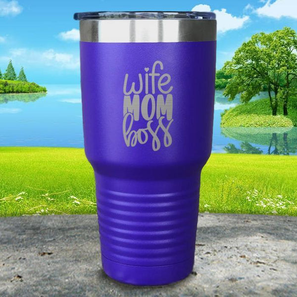 Wife Mom Boss Engraved Tumbler Tumbler ZLAZER 30oz Tumbler Royal Purple