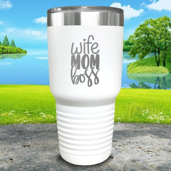 Wife Mom Boss Engraved Tumbler Tumbler ZLAZER 30oz Tumbler White