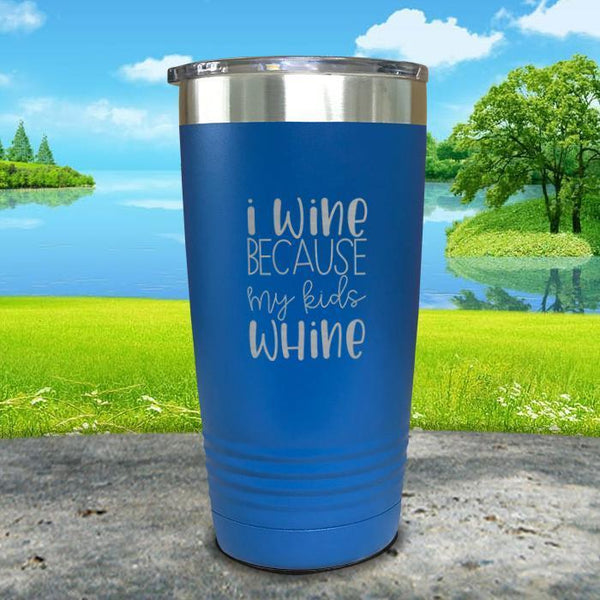 I Wine Because My Kids Whine Engraved Tumbler Tumbler ZLAZER 20oz Tumbler Lemon Blue