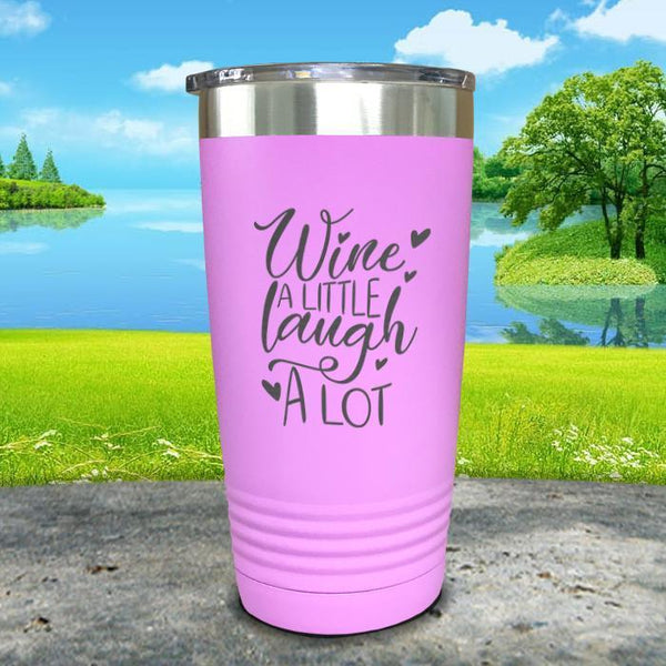 Wine A Little Laugh A Lot Engraved Tumbler Tumbler ZLAZER 20oz Tumbler Lavender