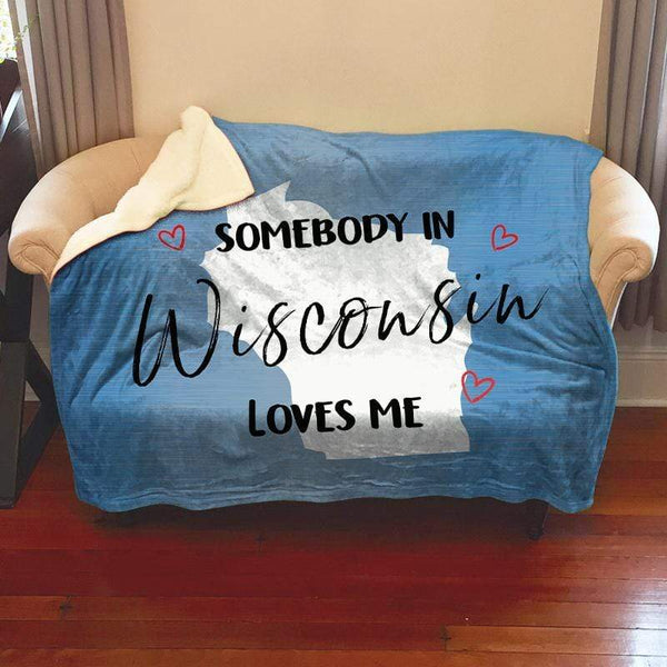 Somebody Loves Me (CUSTOM) Sherpa Blanket Blankets CustomCat Wisconsin