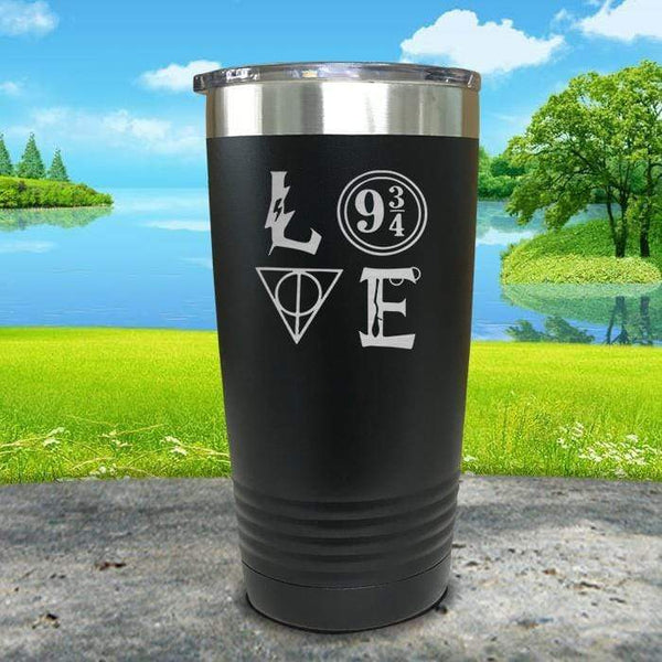 Love Wizard Magic Engraved Tumbler Tumbler ZLAZER 20oz Tumbler Black
