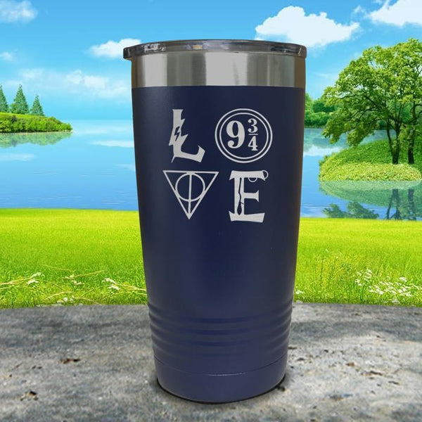 Love Wizard Magic Engraved Tumbler Tumbler ZLAZER 30oz Tumbler Navy