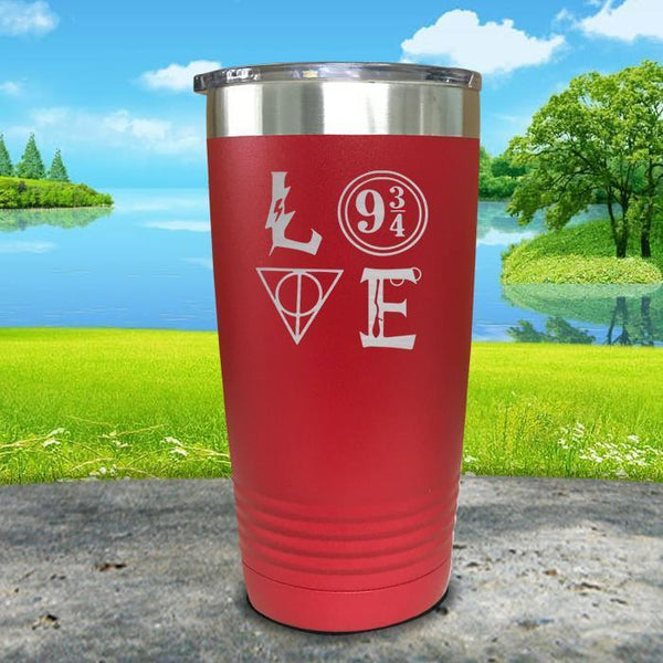Love Wizard Magic Engraved Tumbler Tumbler ZLAZER 20oz Tumbler Red
