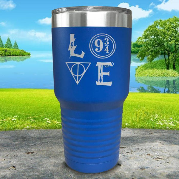 Love Wizard Magic Engraved Tumbler Tumbler ZLAZER 30oz Tumbler Blue