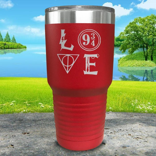 Love Wizard Magic Engraved Tumbler Tumbler ZLAZER 30oz Tumbler Red
