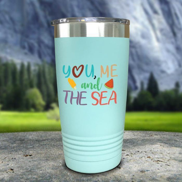 You Me and The Sea Color Printed Tumblers Tumbler Nocturnal Coatings 20oz Tumbler Mint