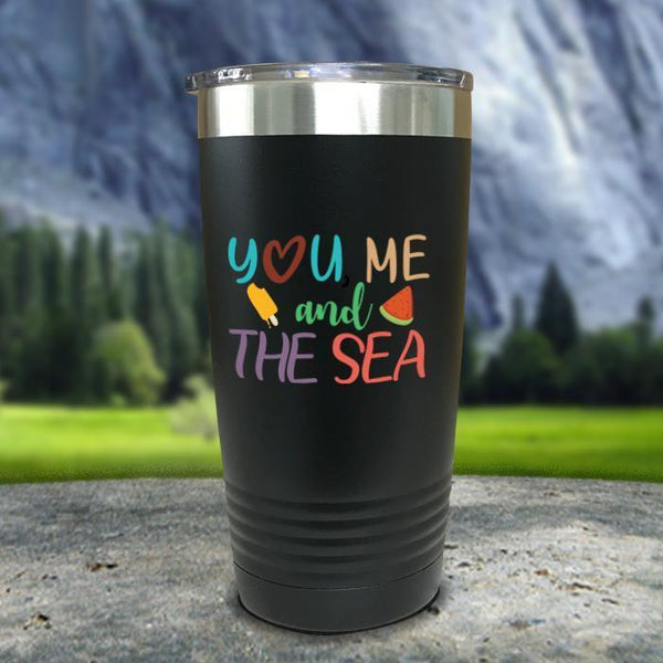 You Me and The Sea Color Printed Tumblers Tumbler Nocturnal Coatings 20oz Tumbler Black