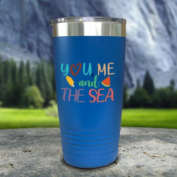 You Me and The Sea Color Printed Tumblers Tumbler Nocturnal Coatings 20oz Tumbler Blue