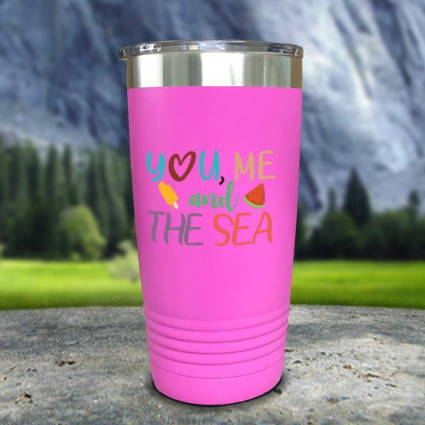 You Me and The Sea Color Printed Tumblers Tumbler Nocturnal Coatings 20oz Tumbler Pink