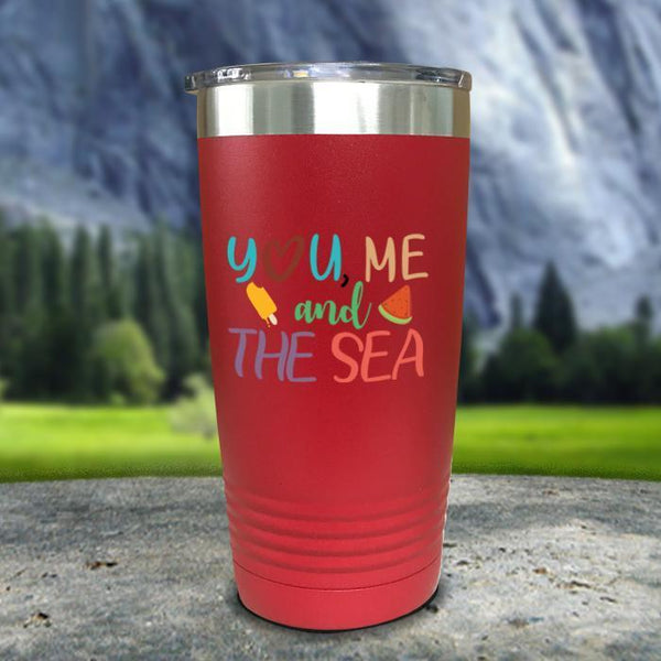 You Me and The Sea Color Printed Tumblers Tumbler Nocturnal Coatings 20oz Tumbler Red
