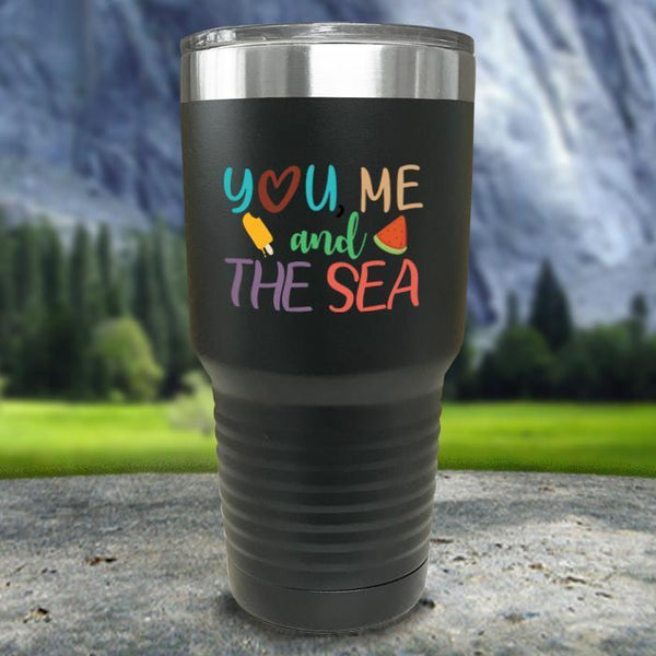 You Me and The Sea Color Printed Tumblers Tumbler Nocturnal Coatings 30oz Tumbler Black