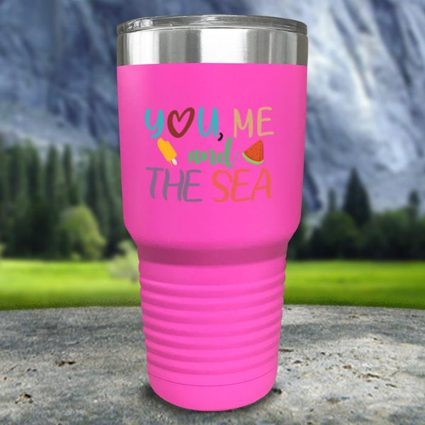 You Me and The Sea Color Printed Tumblers Tumbler Nocturnal Coatings 30oz Tumbler Pink