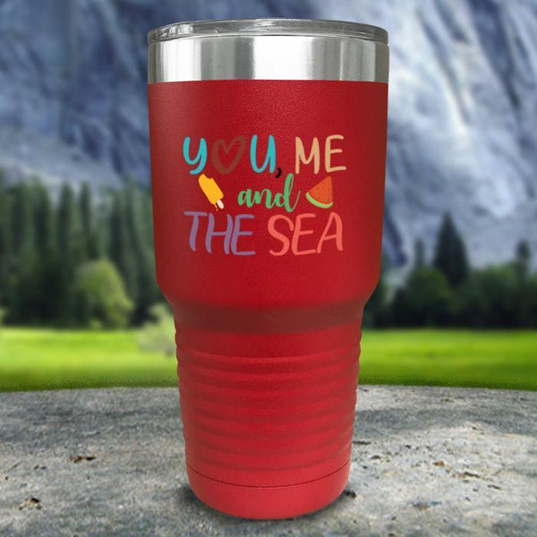 You Me and The Sea Color Printed Tumblers Tumbler Nocturnal Coatings 30oz Tumbler Red