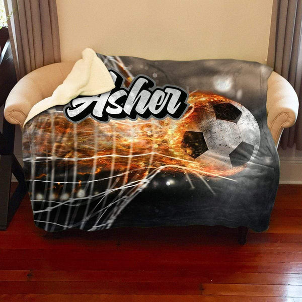 Soccer Fire Personalized Sherpa Blanket Blankets Lemons Are Blue