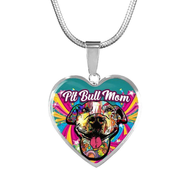 Pit Bull Mom Artistic Premium Jewelry Jewelry ShineOn Fulfillment Luxury Necklace (Silver) No