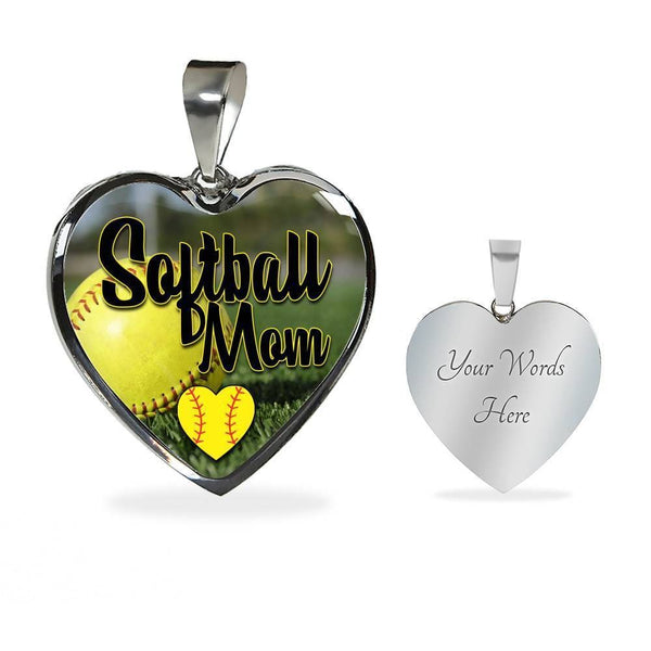 Softball Mom Premium Jewelry Jewelry ShineOn Fulfillment Luxury Necklace (Silver) Yes