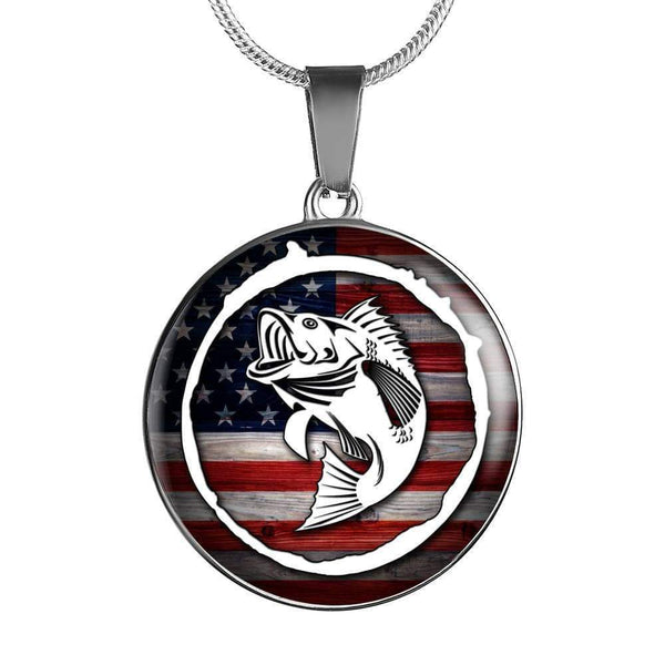 American Fishing Premium Necklace & Bracelets Jewelry ShineOn Fulfillment Luxury Necklace (Silver) No