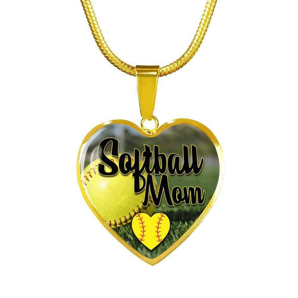 Softball Mom Premium Jewelry Jewelry ShineOn Fulfillment Luxury Necklace (Gold) No
