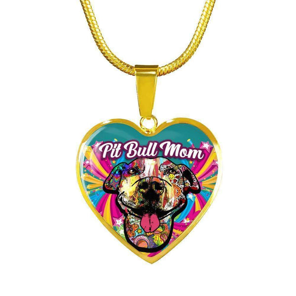 Pit Bull Mom Artistic Premium Jewelry Jewelry ShineOn Fulfillment Luxury Necklace (Gold) No